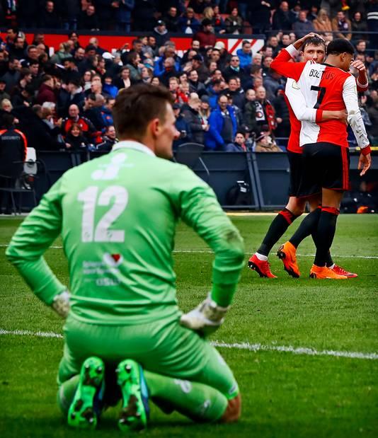 Theo Zwarthoed is verslagen na een goal van Feyenoorder Vilhena.