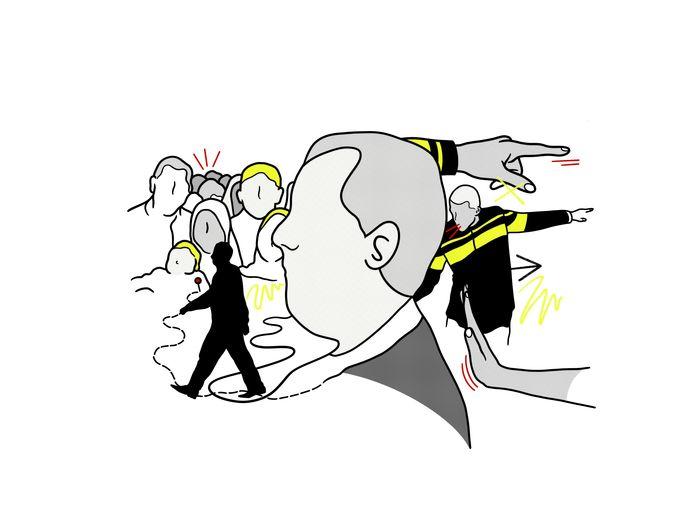 Illustratie van Syriër Abu Bilal die als ongewenst vreemdeling al 14 jaar in Nederland woont.