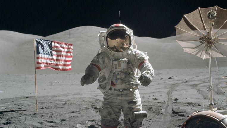 Eugene Cernan op de maan in 1972. Beeld WikiMedia