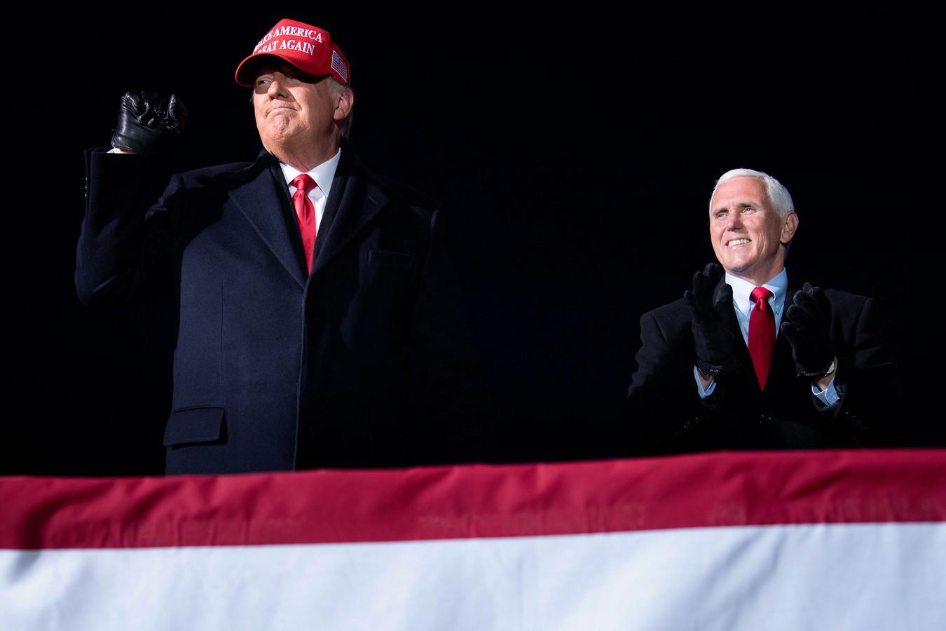 Toenmalig president Donald Trump en zijn vicepresident Mike Pence tijdens de verkiezingscampagne van vorig jaar.