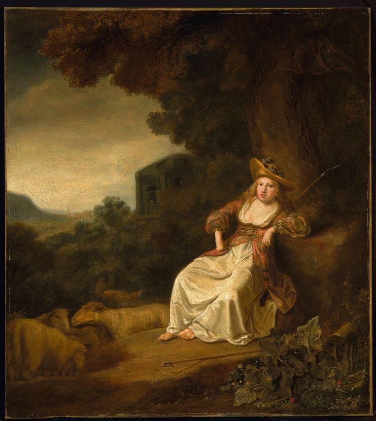 Herderin in een landschap van Ferdinand Bol. Rembrandts leerling gaf een eigen draai aan een van Rembrandts werken. Beeld René Gerritsen