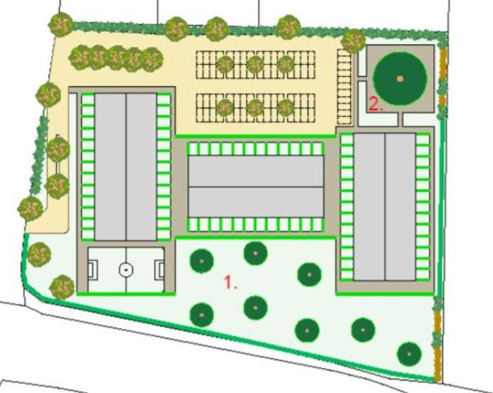 De toekomstige indeling van de locatie 'Heeren van Suylighem' in Zuilichem. De drie grijze blokken zijn woongebouwen voor in totaal 150 personen. Aan de onderkant van de tekening loopt de Van Heemstraweg.