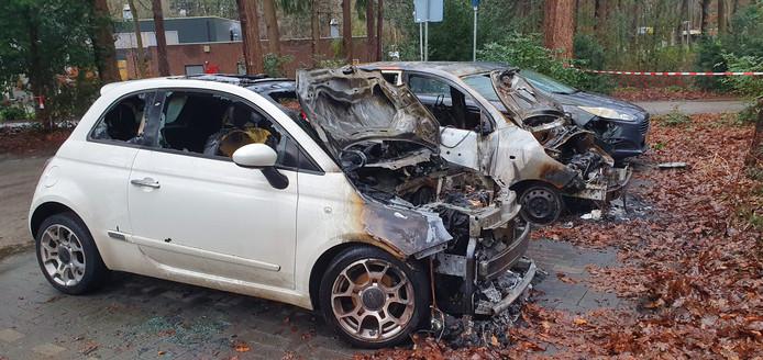 De drie uitgebrande auto's op het terrein van Visio De Blauwe Kamer aan de Galderseweg in Breda.