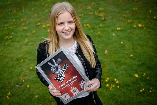 Esmée Schreurs in 2016, het jaar waarin ze The Voice Kids won.