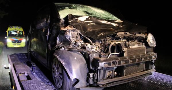 Auto in puin na aanrijding met hert in Loenen: bestuurder gewond.