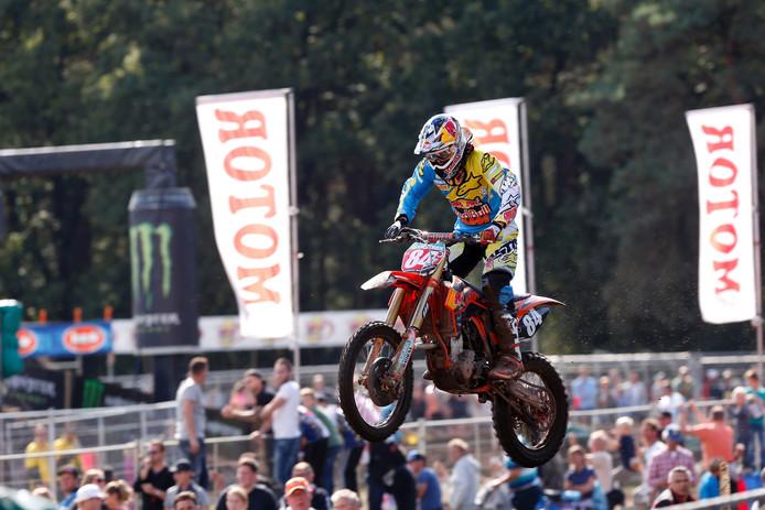Jeffrey Herlings in actie tijdens de laatste Grand Prix in Lierop, in 2013.