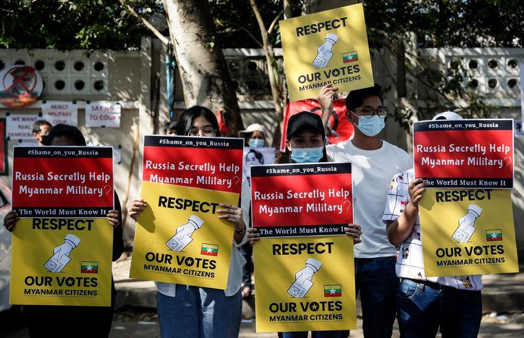 Demonstranten in Myanmar  Beeld EPA