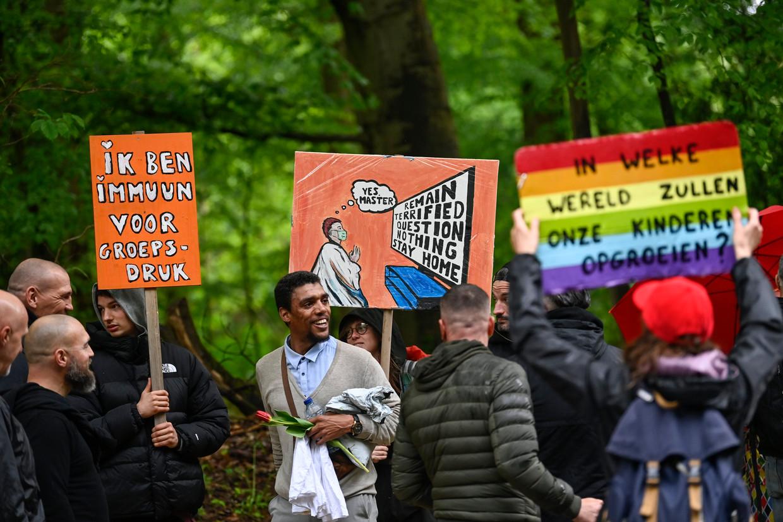 De World Wide Demonstration for Freedom in Brussel, vorig weekend.  Beeld Photo News