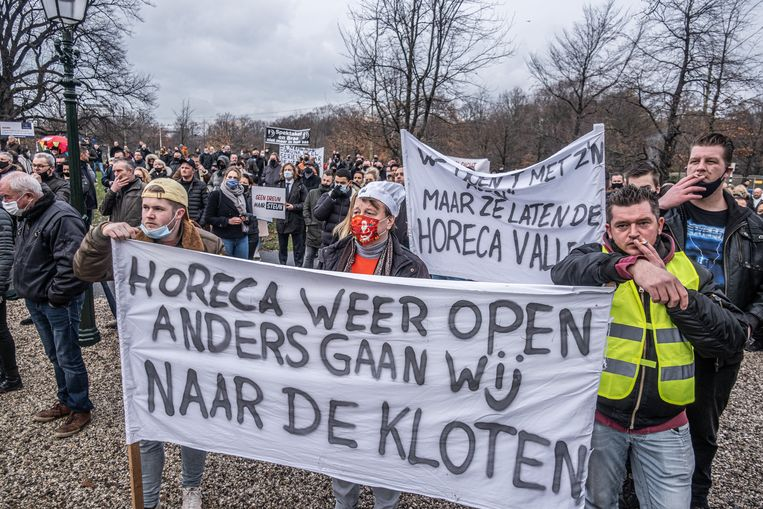 Een protestmanifestatie van de Horeca Alliantie in Den Haag, december 2020. Beeld Joris Van Gennip