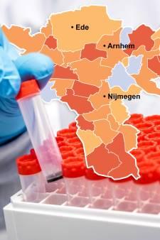 CORONAKAART   Aantal coronabesmettingen in Doetinchem bijna verdubbeld, West Betuwe blijft zorgelijk