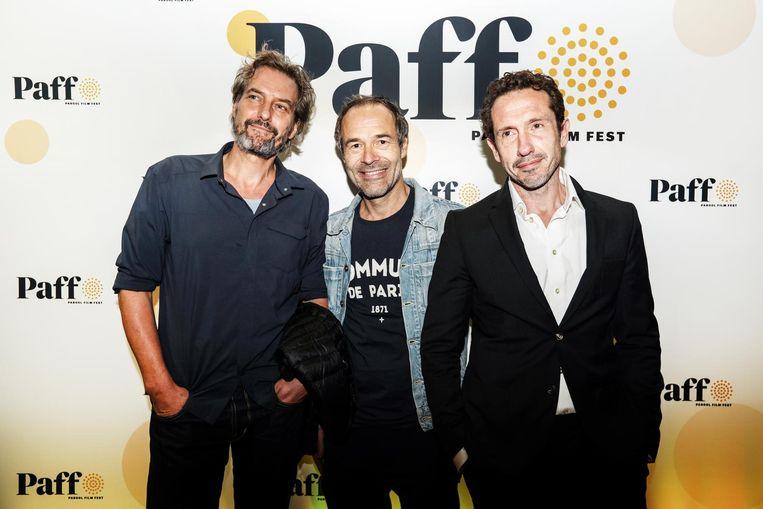 Ook aanwezig bij de premiere van Beautiful Boy: regisseur Joram Lürsen (m) en acteur Jacob Derwig (r) Beeld Eva Plevier