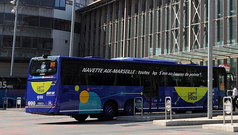 Het busstation in Marseille waar de arrestatie vrijdag plaatsvond. Beeld AFP