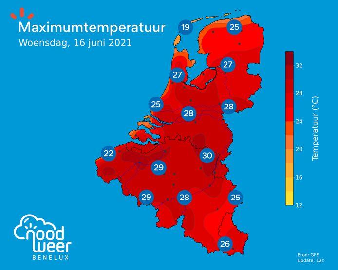 Woensdag klimt het kwik op diverse plaatsen tot 30 graden en meer.