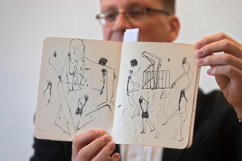 Tekeningen van de schrijver Franz Kafka, nu online te zien bij de Nationale Bibliotheek in Israël. Beeld AP