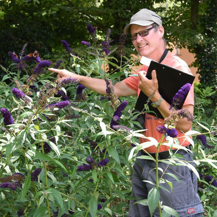 Ortwin Hoffmann voerde de afgelopen drie weken 177 vlindertellingen uit  in zijn tuin.