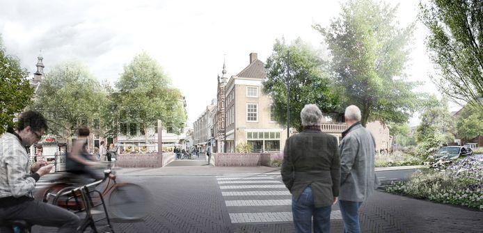 De oversteek van de Haagdijk naar de Tolbrugstraat over de Tolbrug in Breda. zoals die er in de toekomst gaat uitzien.