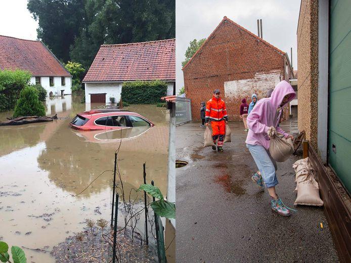 De bewoonster van de hoeve in Dworp diende met een bootje geëvacueerd te worden. Ook in Halle (rechts) is er her en der wateroverlast.