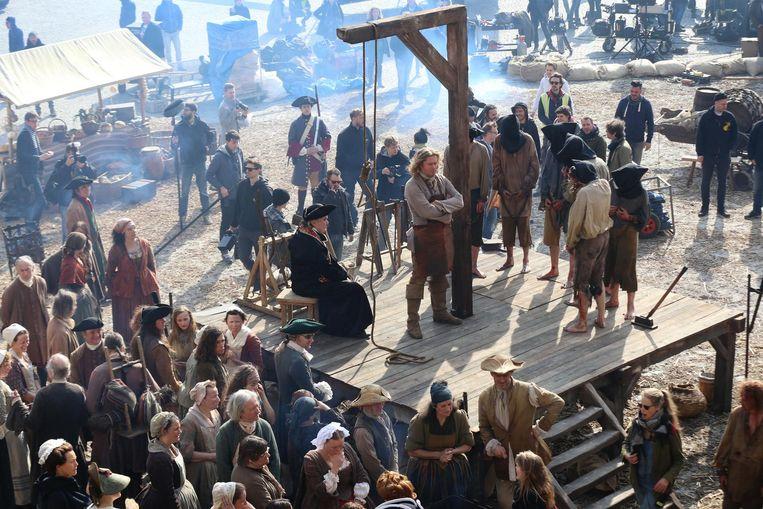 Veurne wil meer filmploegen naar de stad lokken, zoals hier voor de opnames van de tv-reeks 'De Bende van Jan de Lichte' op de Grote Markt.