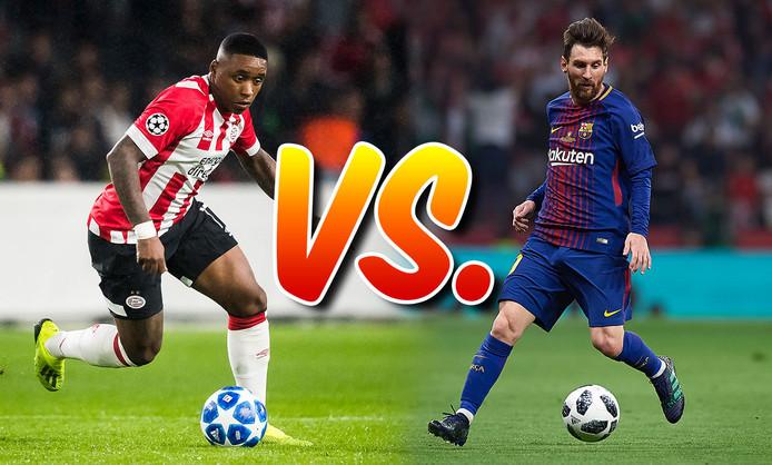 Steven Bergwijn speelt vanavond met PSV tegen Lionel Messi.