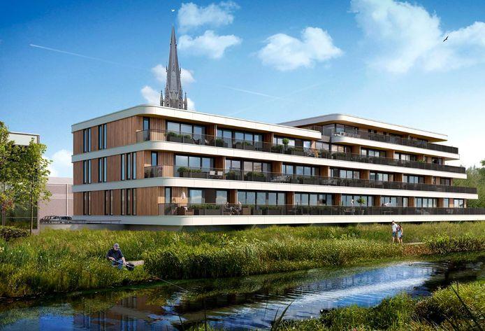 Het nieuwe appartementencomplex Frisselsteyn, dat komt te staan achter de Markt aan de Aa. Op deze impressie de aanblik vanaf de Aa.