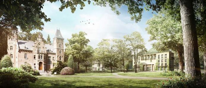 Een impressie van nieuwbouw op landgoed Roucouleur in Vught met rechts het bestaande kasteeltje.