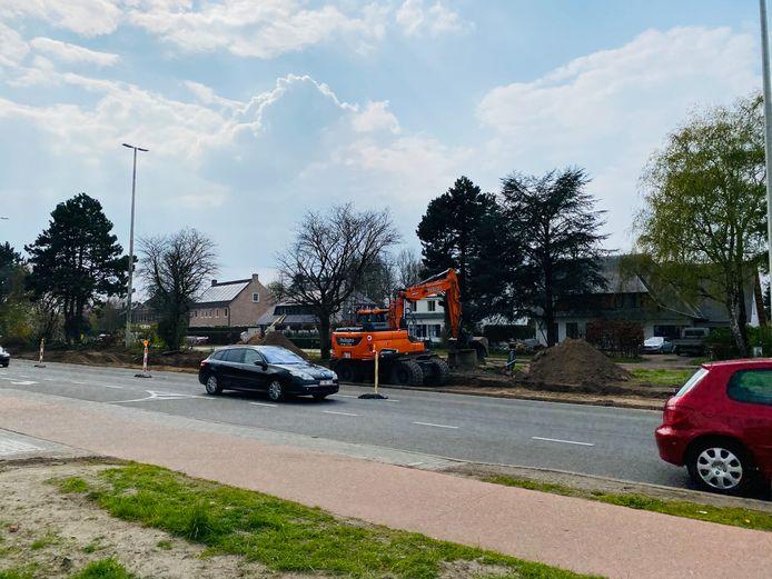 De werken nabij het kruispunt van de Parklaan met de Steenweg op Mol