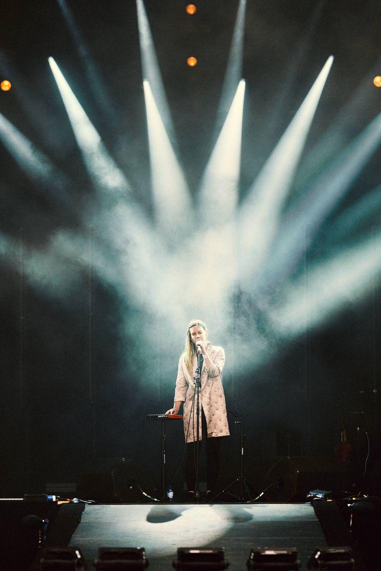 Ex-bandlid Patricia Vanneste kwam haar nieuwe project Sohnarr (**) voorstellen. Beeld Thomas Sweertvaegher