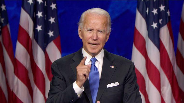 Voormalige vicepresident en huidig presidentskandidaat Joe Biden tijdens zijn acceptatiespeech. (20/08/2020) Beeld Photo News