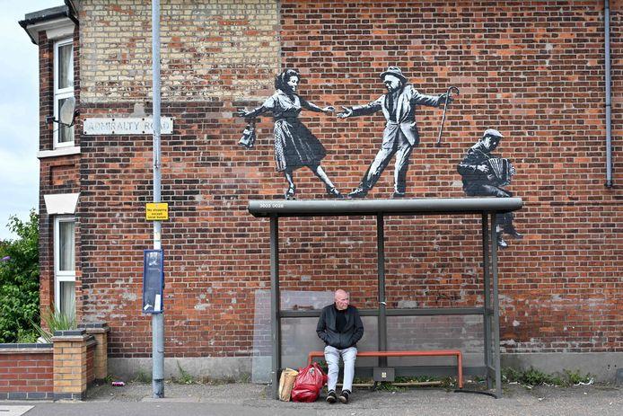 Een kunstwerk van Banksy in Great Yarmouth bij de oostkust van Engeland.