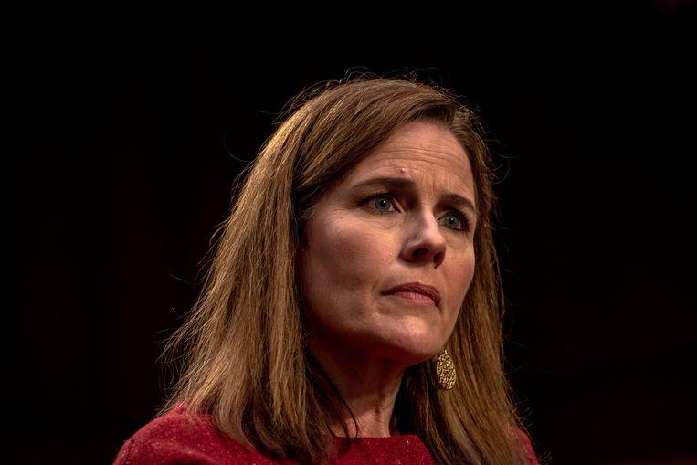 Amy Coney Barrett wordt de opvolger van de overleden rechter Ruth Bader Ginsburg. Beeld AFP