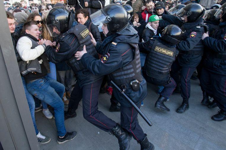 Archiefbeeld van een eerdere demonstratie in maart van dit jaar. Beeld AP