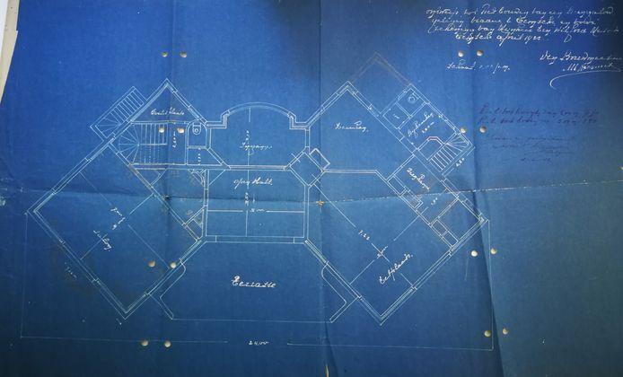 De blauwdruk uit 1922 van de villa.