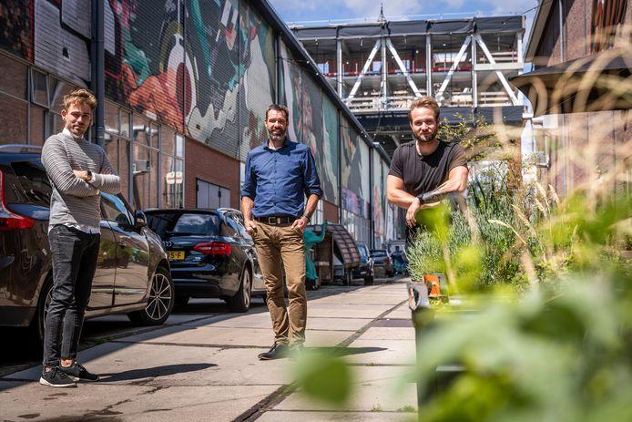 De drie oprichters van de start-up Citylegends; v.l.n.r. Jeffrey Lanters, Harmen Beijsterbosch en Jimmy Hermans.