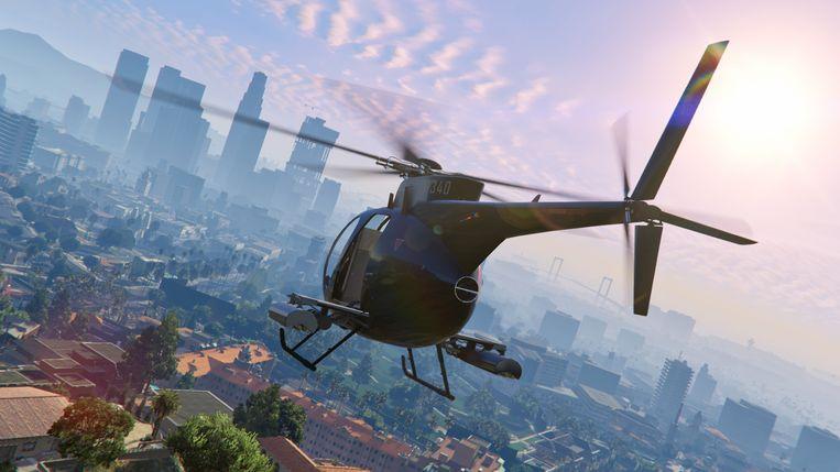 Bovenaanzicht van Los Santos, het door een satirische mangel gehaalde Los Angeles van 'Grand Theft Auto V'. Beeld Rockstar Games