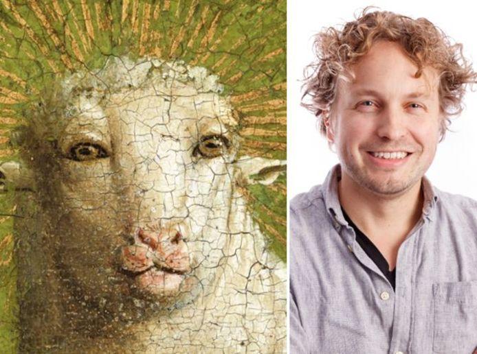 Het Lam Gods (links) en columnist Niels Herijgens.