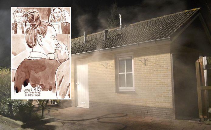 Het brandende chalet op vakantiepark in Ermelo waar het stoffelijk overschot van Ton Kuijf werd gevonden. Inzet: Janet S. in de rechtbank in Zutphen, in 2016.