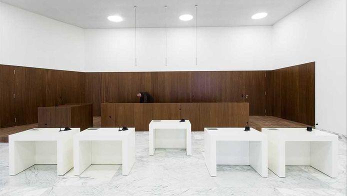 Een zittingszaal in het Paleis van Justitie in Amsterdam