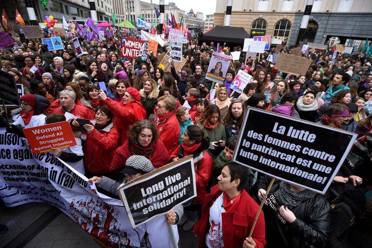De eerste nationale vrouwenstaking in België ging door op 8 maart 2019 (archiefbeeld ter illustratie).