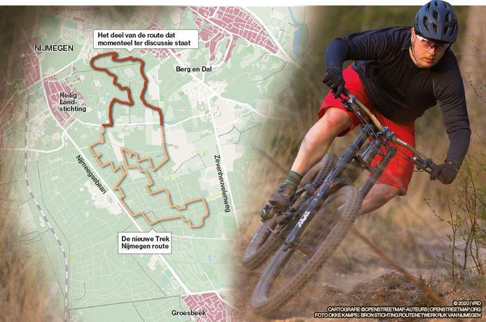 Een van de vier nieuwe mountainbikeroutes: de Trek Nijmegen Route. Een deel van de Nijmeegse gemeenteraad wil het bovenste deel sluiten.