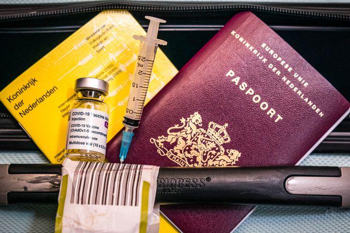 Een illustratieve weergave van reizen met een vaccinatiebewijs.
