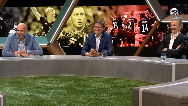 Bob Peeters, Erik Van Looy en Jeroom in 'Match van de waarheid'. Beeld Telenet