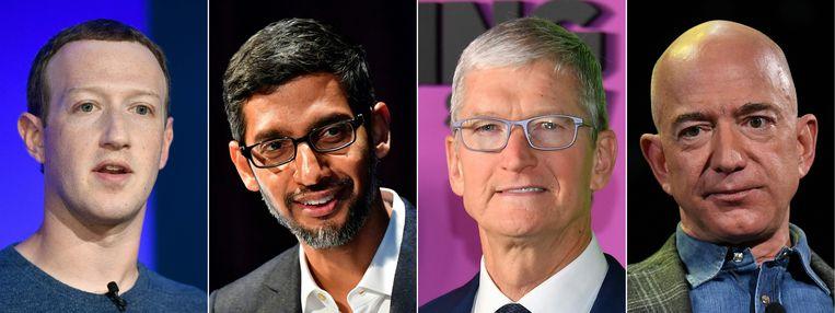 De CEO's op een rijtje: Mark Zuckerberg van Facebook, Sundar Pichai van Alphabet (Google en YouTube), Tim Cook van Apple en Jeff Bezos van Amazon. Beeld AFP