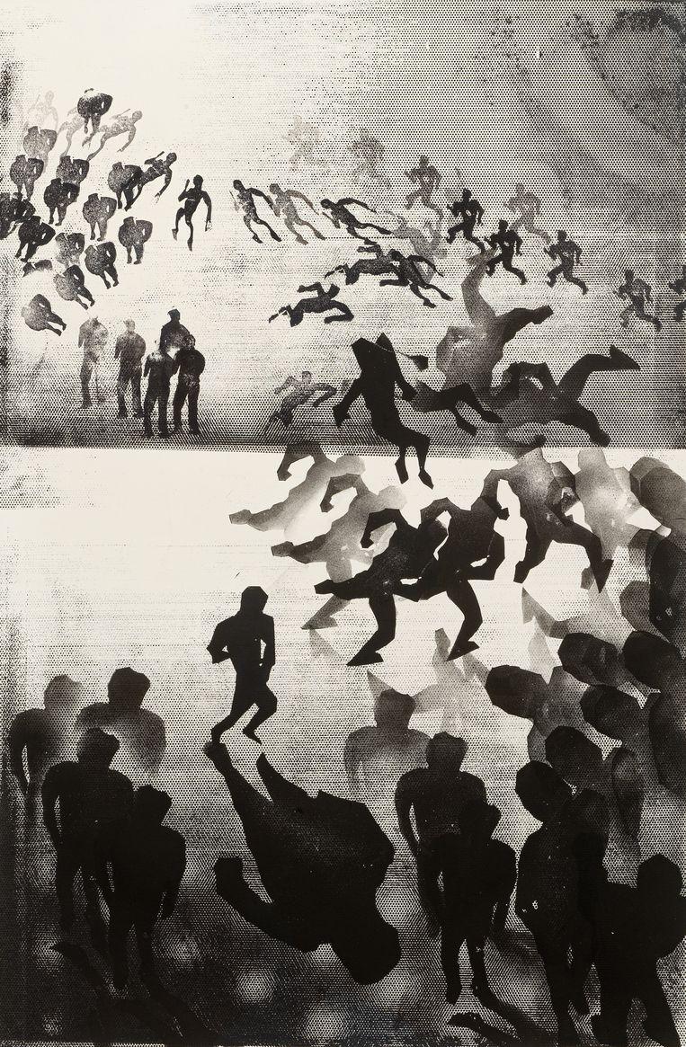 Matthew Monahan, Untitled, 2020, inkt op papier (gestempeld), 111,7 x 77 cm Beeld Galerie Fons Welters