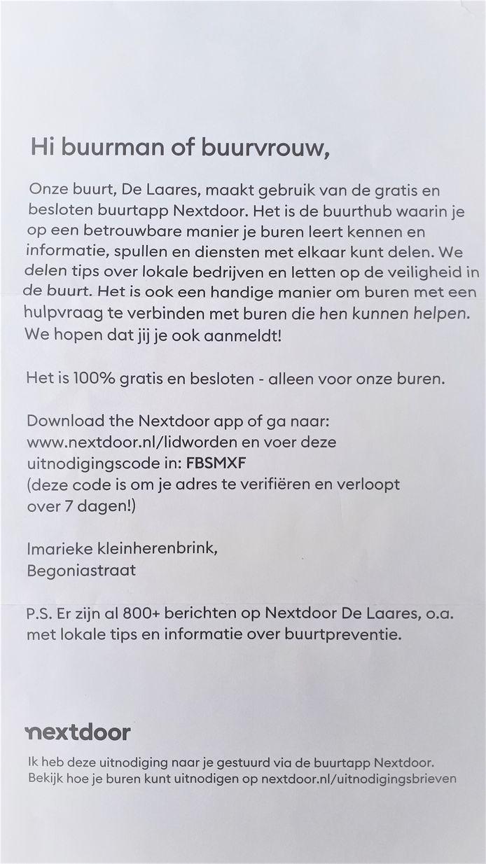 Deze brief ontvingen bewoners van De Laares in Enschede