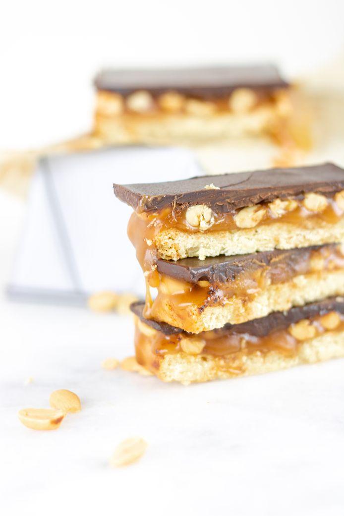 Millonaire's shotbread: ook wel caramel shortbread genoemd.