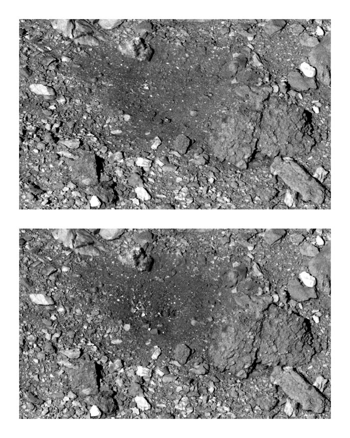 Deze combinatie van beelden van maart 2019 en april 2021 toont het verschil op het oppervlak van Bennu waar OSIRIS-REx in 2020 een beetje stof en stenen meegriste. Voor en na dus.