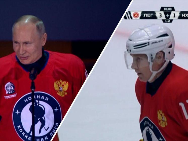 Poetin speelt ijshockeywedstrijd en scoort acht keer