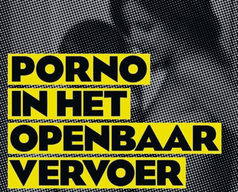 Het gaat om posters met de tekst 'Porno in het openbaar vervoer. Het kan dus wel.' Op de achtergrond zijn een naakte man en vrouw zichtbaar, maar geen geslachtsdelen. Beeld