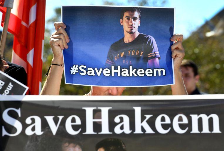 Demonstraties in de Australische stad Melbourne voor de vrijlating van Hakeem al-Araibi. Beeld AFP