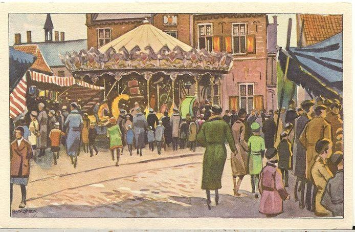 Kermis in Gennep op een tekening, vermoedelijk in de jaren 50.